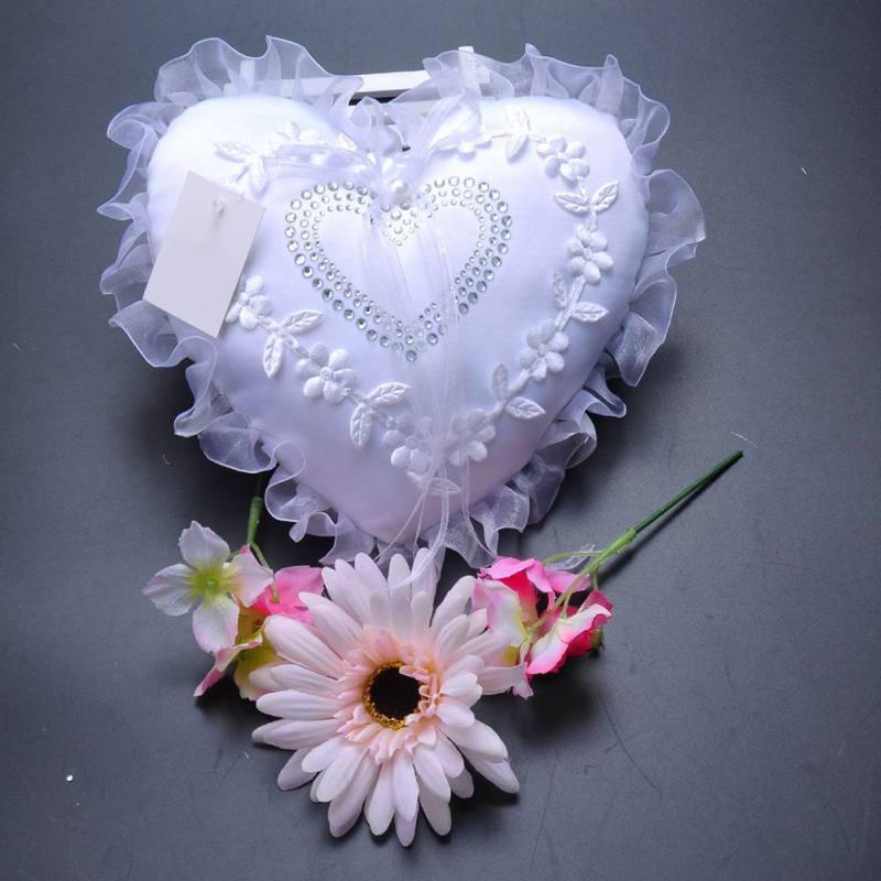 Wedding Ring Bearer Cushion Pillow Lace Flower Bridal Wedding Heart Pocket Rhinestone Wedding Ring Bearer Pillow Wedding Decor