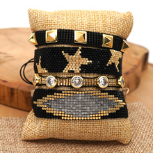 Europe and the United States woven black gold star female miyuki bead bracelet with punk wind fashion rivet set  hand ornaments europe and the united states simple fashion gold silver hollow six angle star bracelet hollow geometric bracelet female girl jew