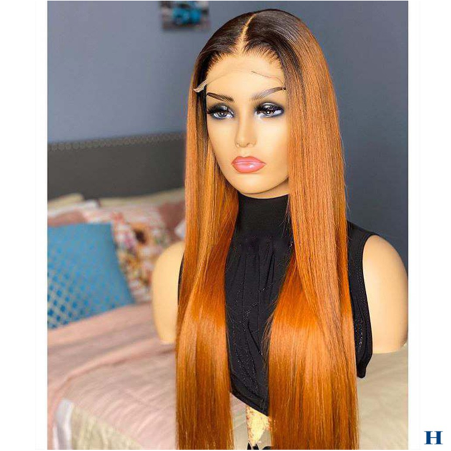 Ombre Orange Silk Straight Full Lace Human Hair Wigs Preplucked With Baby Hair Glueless Wig For Women