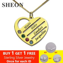 SHEON 925 Sterling Silver Heart Mother Necklaces Custom Name Engraving Birthstone Necklace Jewelery Christmas Day Gift for Mom women gold necklaces custom name engraving necklace love heart collar birthstone chain jewelery christmas day gift for mother