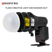 TRIOPO MagDome Color Filter Reflector Honeycomb Diffuser Ball Photo Accessories Kits For GODOX TT600 TT520 YONGNUO Flash Replace