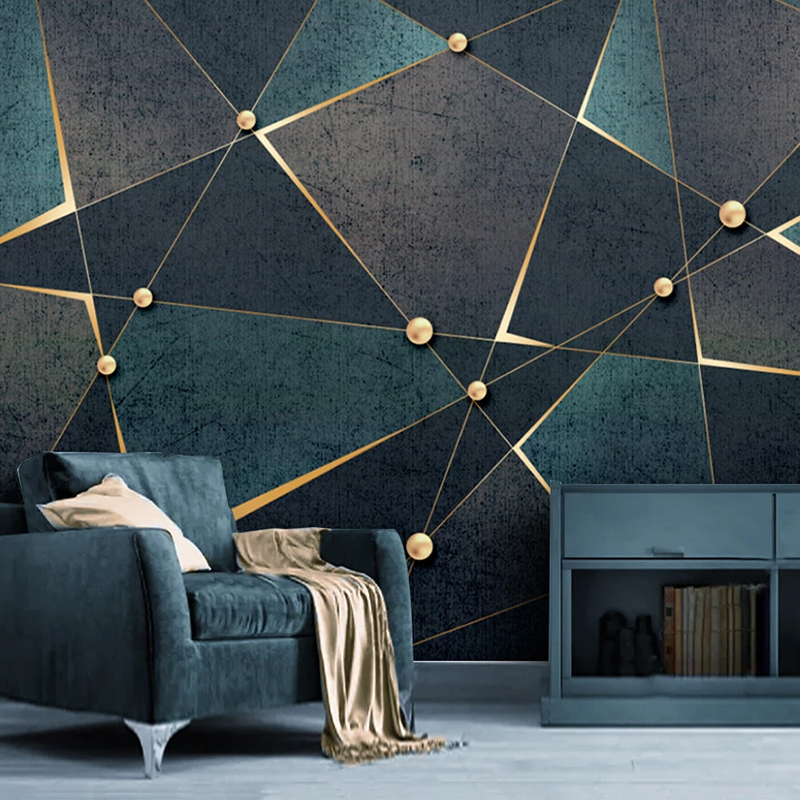 Custom 3D Photo Wallpaper Creative Golden Abstract Geometric Lines Mural Modern Study Room Living Room TV Background Home Decor