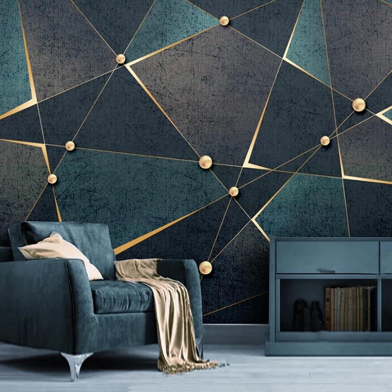 Custom 3D Photo Wallpaper Creative Golden Abstract Geometric Lines Mural Modern Study Room Living Room TV Background Home Decor