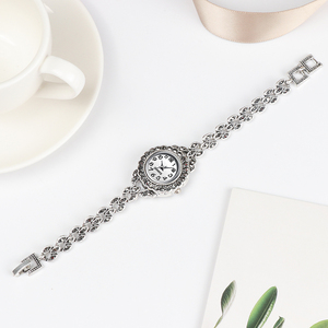 Image 3 - REVELRY Luxury Antique Silver Wrist Watch Turkish Rhinestone Bracelet Watches Women Vintage Geneva Designer Quartz Watch Womens