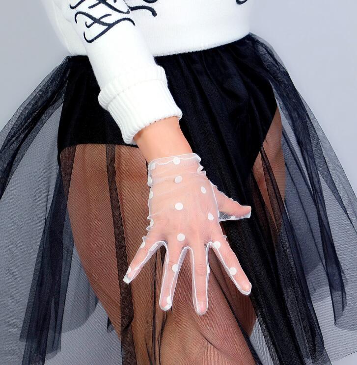Women's Sexy Transparent Dot Print White Mesh Glove Female Summer Sunscreen Club Party Dancing Glove R2692