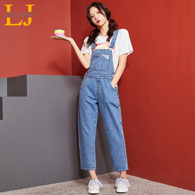 LEIJIJEANS 2019 Autumn Plus Size Women's Jeans Light Blue Strap Jeans College Wind Girl Casual Nine Points Strap Girl Jeans 9118