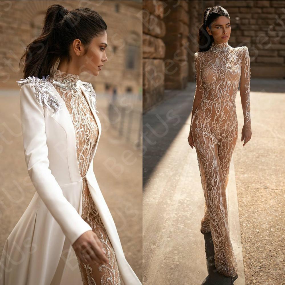 Illusion Prom Dresses High Collar Lace Applique Elegant Formal Dress With Jacket Long Sleeve Beaded Jumpsuits Robes De Soirée