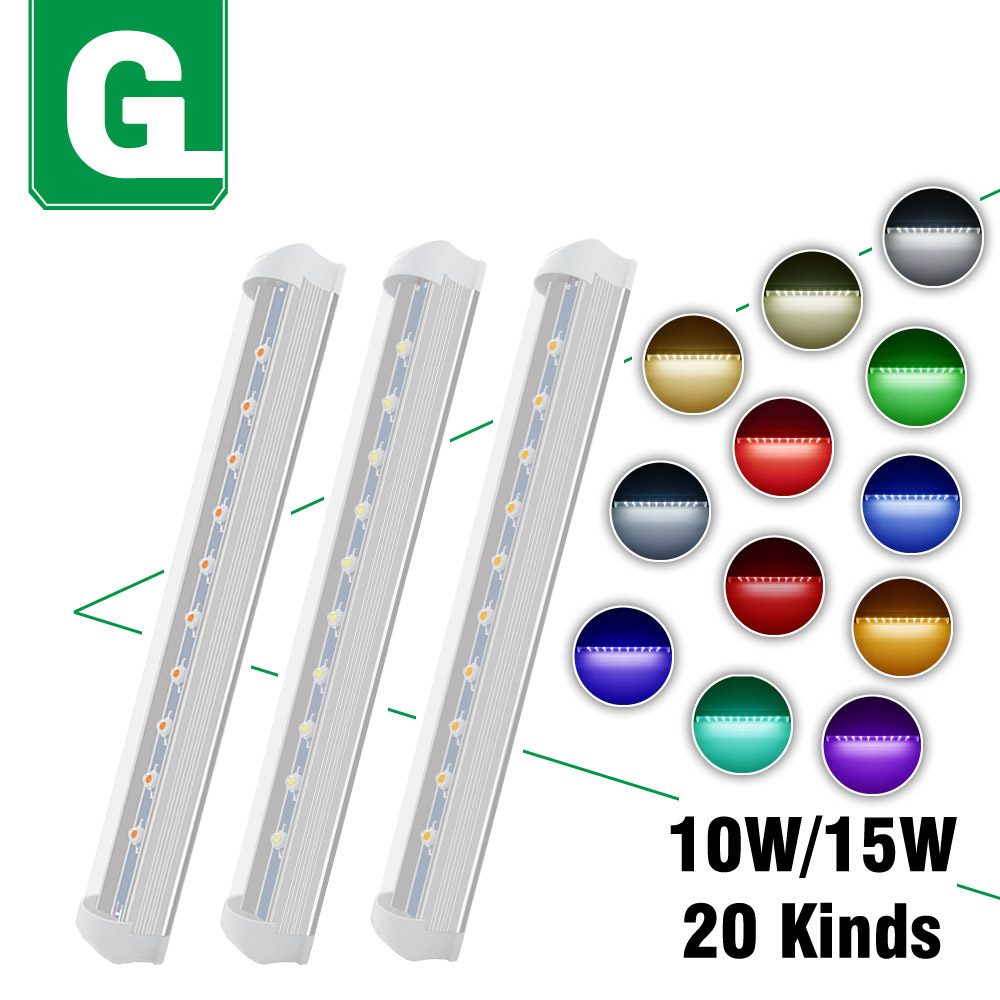 10W 15W T8 LED <font><b>Tube</b></font> Light Warm Natrual Cool White Red Blue Green Yellow Full Spectrum LED Lamp 30cm 60cm For Home Plant Aquarium image