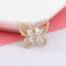 Fashion Rhinestone Zircon Small Butterfly Brooches for Women Exquisite Suit Collar Animal Brooch Accessories Fashion Jewelry Pin hot sale korean brooch high end zircon flower scarf small brooch dual use fashion butterfly shape pin jewelry factory direct