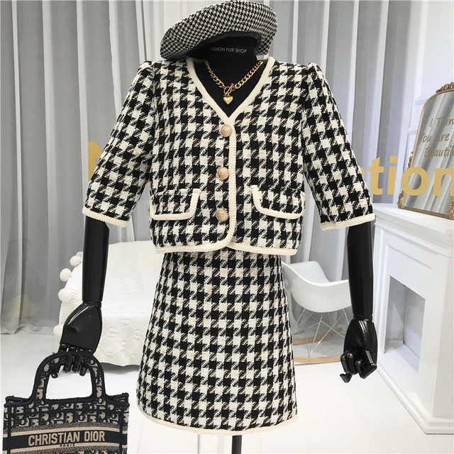 Vintage houndstooth sun dress with matching jacket sz 12