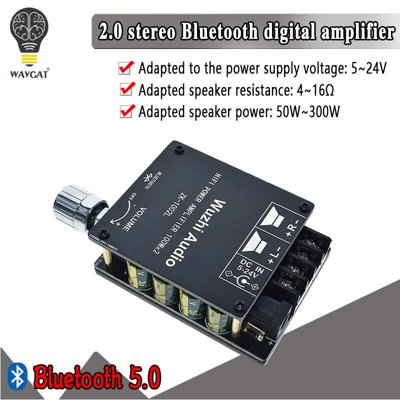 ZK 1002L TPA3116D2 100WX2 Мини Bluetooth 5,0 беспроводной аудио Мощность Цифровой усилитель доска стерео усилитель DC 12 В 24 В|Интегральные схемы|   | АлиЭкспресс - Audio