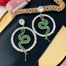 FYUAN Big Round Crystal Drop Earrings for Women Bijoux Green Snake Rhinestone Dangle Earrings Jewelry Gifts
