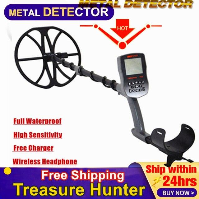 """Gratis Verzending Volledige Waterdichte T90 Underground Gold Metal Detector Met Draadloze Hoofdtelefoons En 12 """"Zoekspoel"""