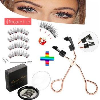 quantum eyelash curler  4 magnets magnetic eyelashes, eyelashes can be reused, natural curling false eyelashes, makeup eyelashes недорого