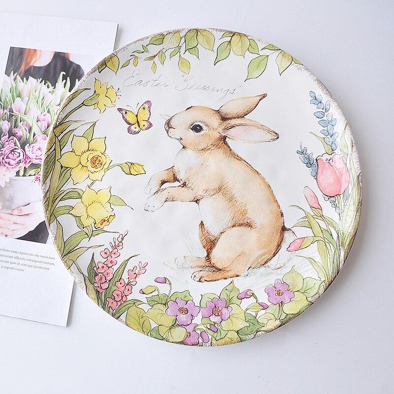 Autocollants peints sous glaçure couleur assiette en céramique motif lapin mignon vaisselle grande assiette assiette européenne