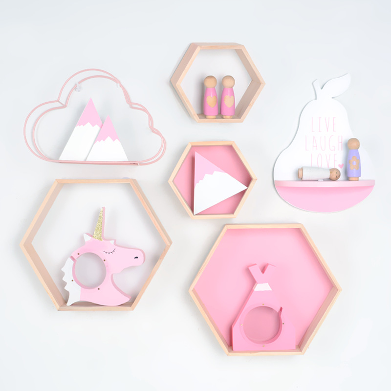 Ins Pink Series Wooden Shelf Rack Decoration For Children Bedroom Baby Nursery Room Decor Cute Creative Money Boxes For Girls
