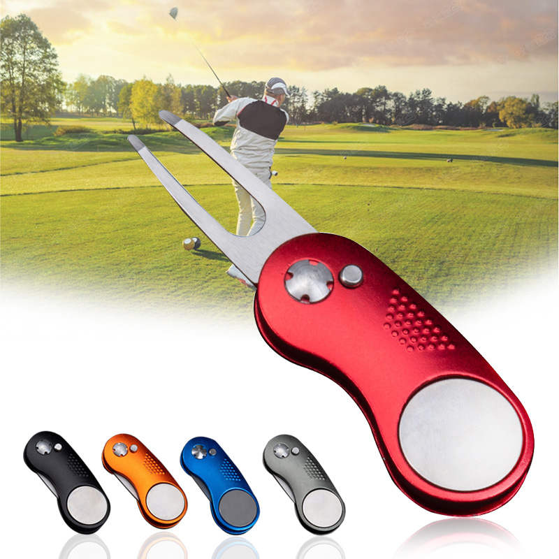 Metal Foldable Golf Divot Fork Tool With Button Magnetic Ball Marker Portable For Golf Club ENA88
