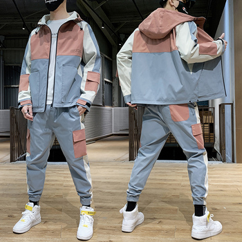 Hip Hop 2 pieces Set Mens Tracksuit Casual Letter Print Suits Loose Stand Collar Sweatshirts Men Jacket+Pants Sets 2019 spring hip hop clothes fashion letter printing tops light green pants suits female casual loose 2 piece sets