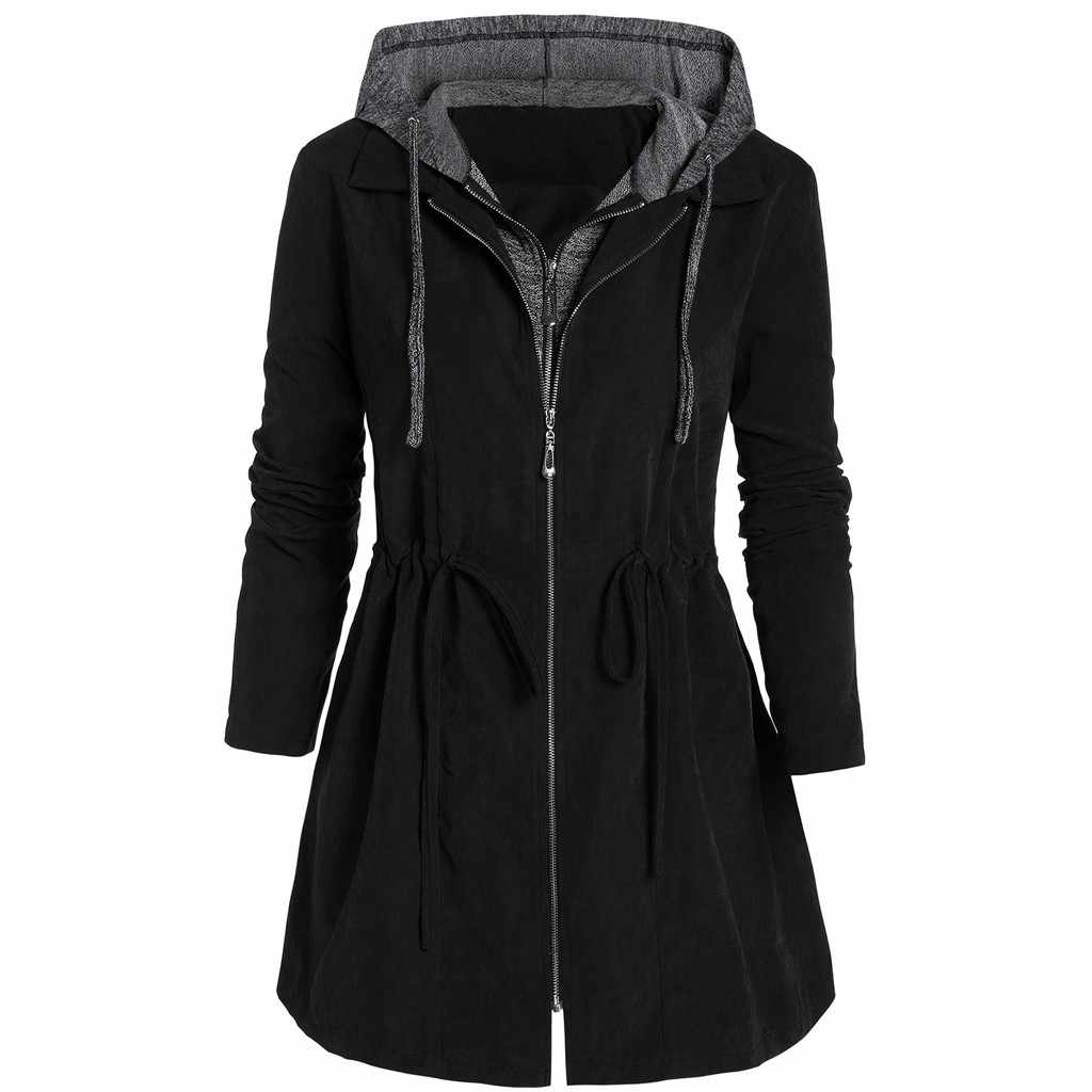 35 & Wanita Jaket Hujan Hooded Outdoor Tahan Air Panjang Mantel Windproof Plus Ukuran 5XL Panjang Hangat Berkerudung Jaket musim Dingin