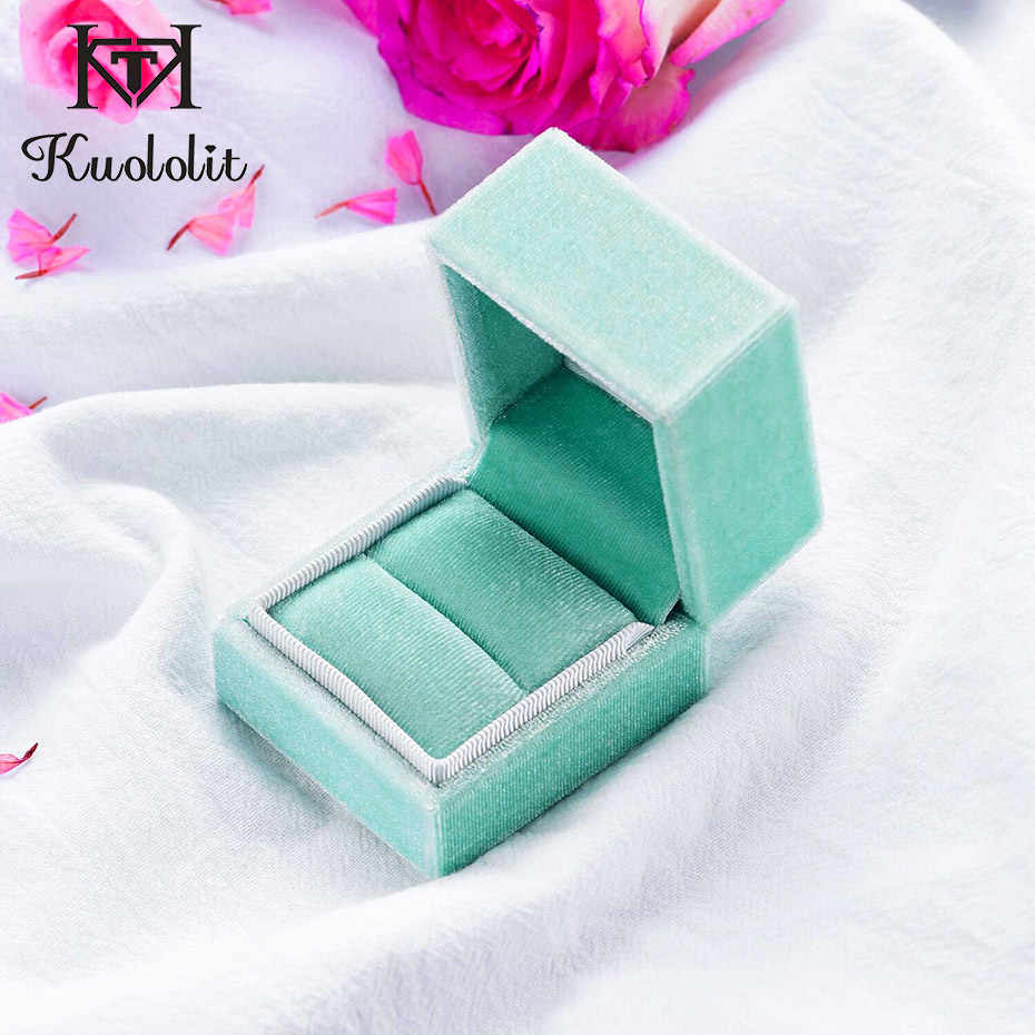 Kuololit Velvet Rectangle Ring box for Women Handmade Ring Jewelry Box for Wedding Engagement Bridal Gift Pink Green Box Display