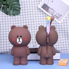 Hot Sale Cartoon Silicone Pencil Case 3D Kawaii Lip Bear School Office Supplies Bags For Kids Stationery Box Gifts