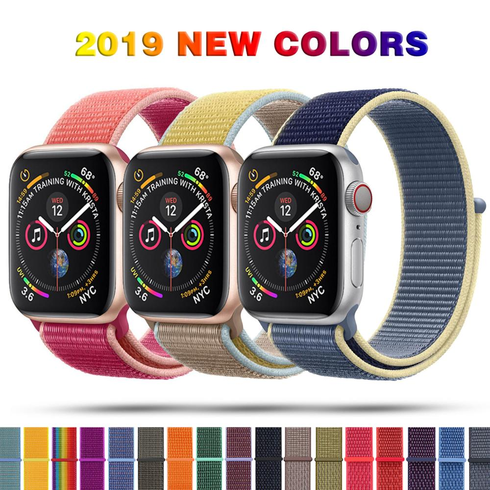 Sport Loop Nylon Band For Apple Watch Series 5 40mm 44mm Series 4, Bracelet Belt Strap Nylon Woven Wrist Bands For  IWatch 38 42