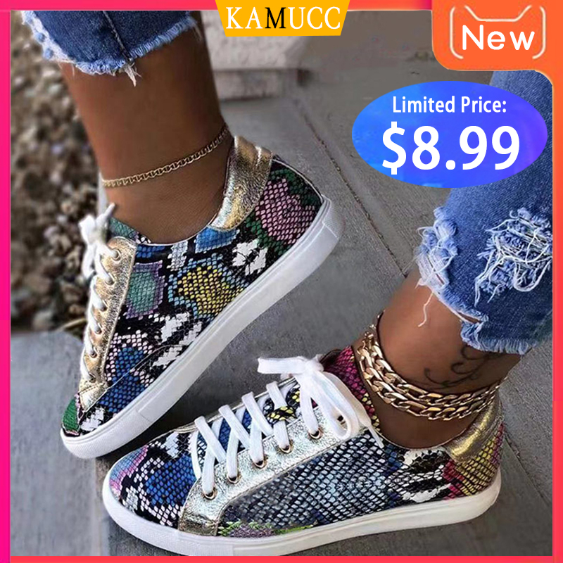 Women Snake Printing PU Leather Vulcanized Shoes Lace up Female Sneakers Fashion 2019 New Platform Woman Shoes Walking Footwear