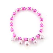Hanreshe bonito joaninha pulseira pérola rosa grânulos charme menina gato nior clássico jóias anime crianças belas pulseiras presentes amigos
