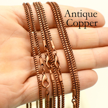 50 pcs - 18'' and 24'' Antique Copper Chain, Antique Copper Box Chain Necklace, 2mm Snake Chain Necklace, Cube Chain [haotian vegetarian] antique copper wrap angle corner piece antique furniture copper ornaments cupboard corners htg 057