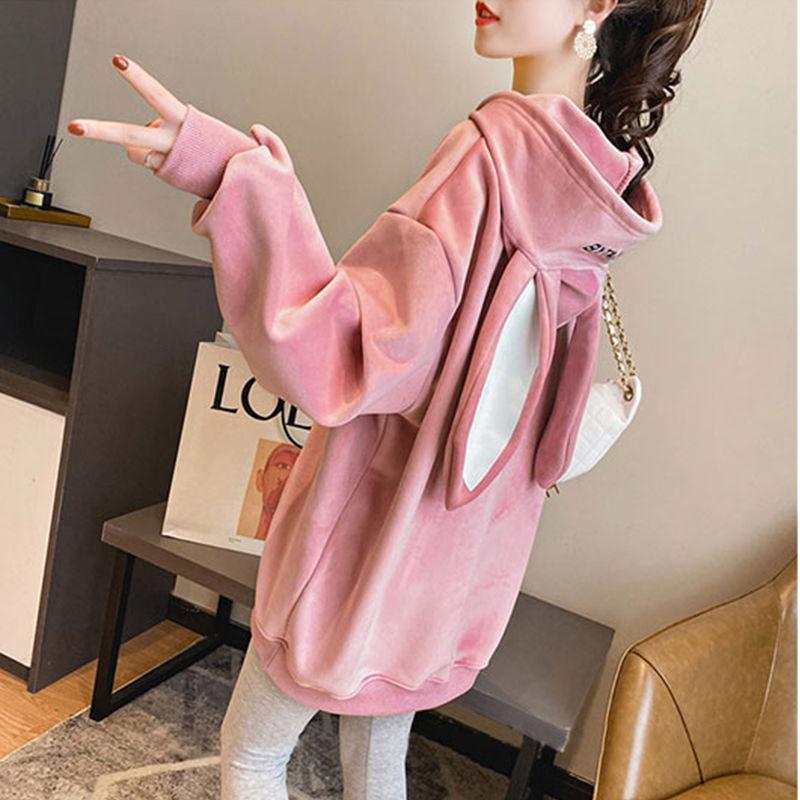Sweatshirt Women Plus Velvet Thick New Korean Version Of Autumn Winter Loose Students Cute Rabbit Ears Long Hooded Jacket