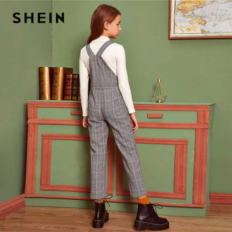 SHEIN Kiddie Grey Plaid Button Side Preppy Bandjes Jumpsuit Kinderen 2019 Winter Pocket Front Straight Leg Casual Jumpsuits