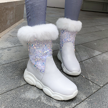 Fashion bling Snow Boots woman Winter Warm Fur Platform Women Shoes Round Toe Wedges low heels ankle Boots Size 34-43