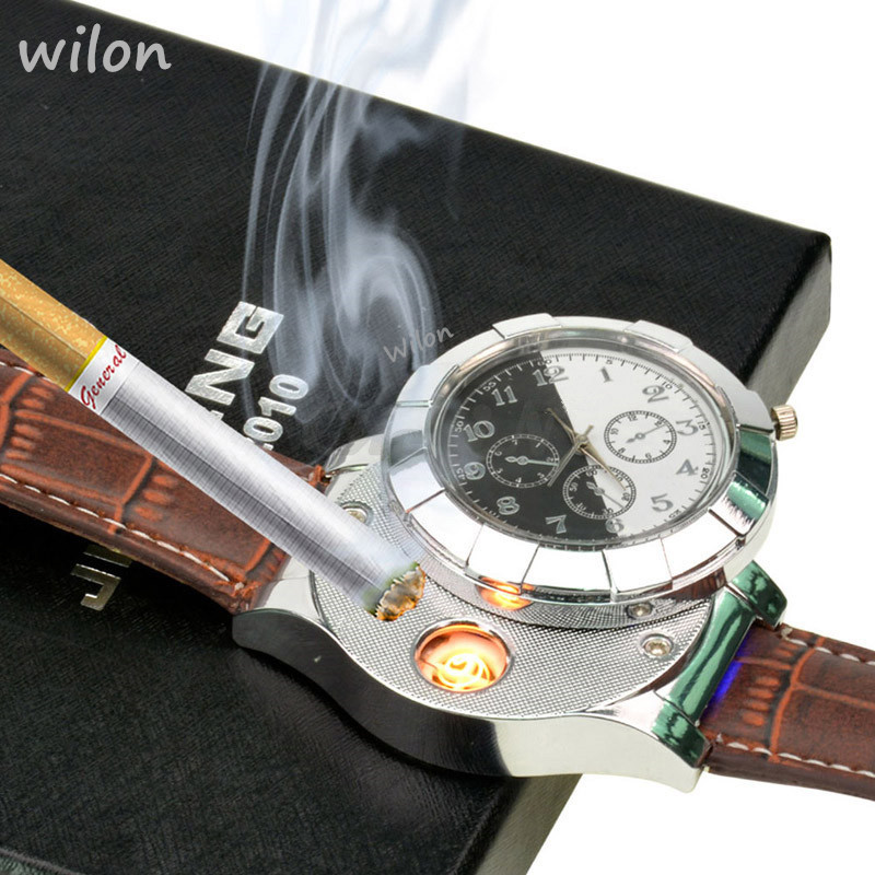 Mens Quartz watch Lighter Rechargeable USB Electronic Cigarette lighter Flameless Men's gifts leather strap F667 male clock 1pcs
