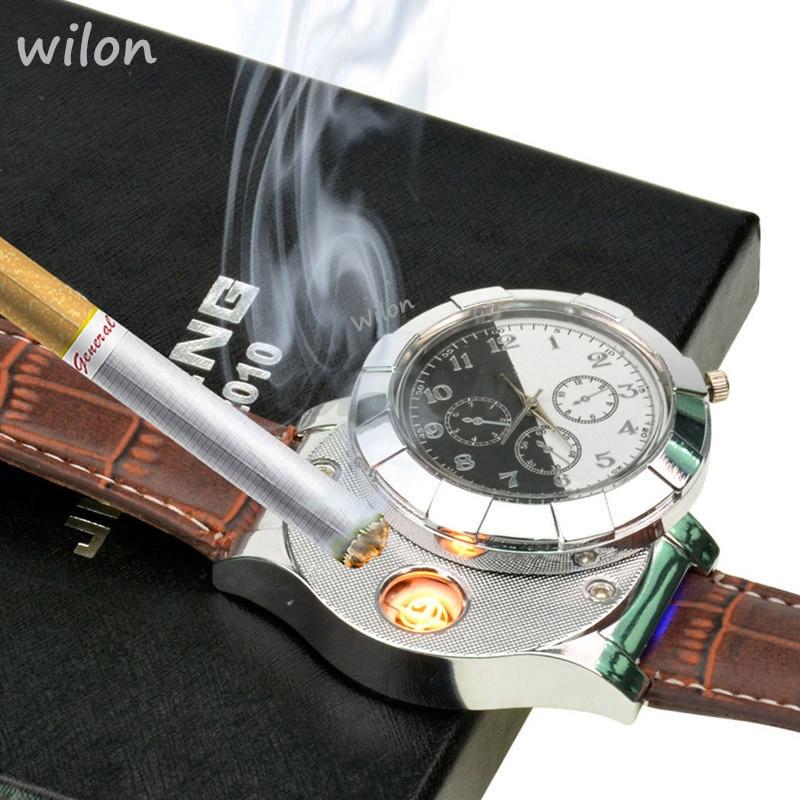 Mens Quartz Watch Lighter Rechargeable USB Electronic Cigarette Lighter Flameless Men's Gifts Leather Strap F667 Male Clock 1pcs