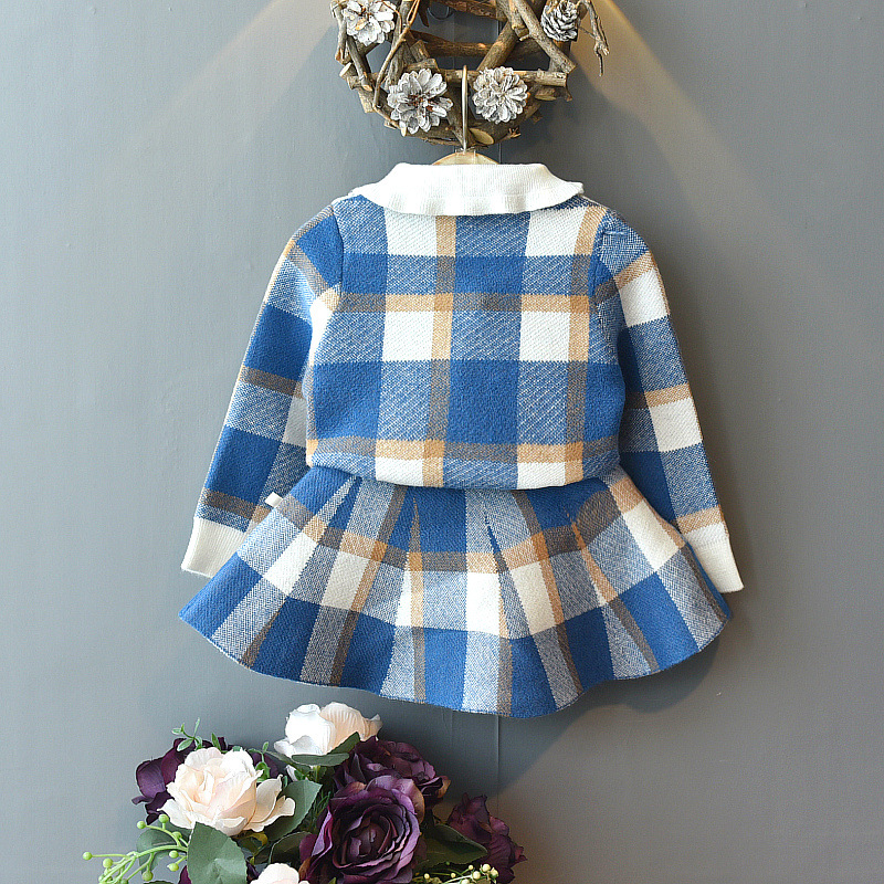 Baby Girls Winter Clothes Set Christmas Outfits Kids Girls Plaid Knit Sweater&skirt Fall Girl Clothing Set Children Costume 3