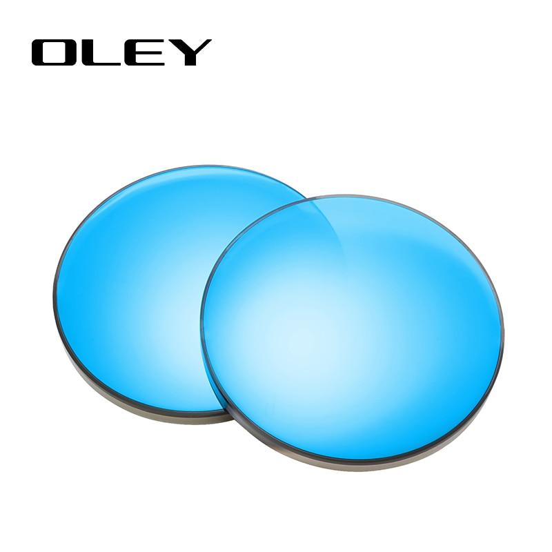 OLEY Anti-blue Light Color 1.56 1.61 1.67 Prescription CR-39 Resin Sun Glasses Lenses Myopia Polarized Lens Y0201