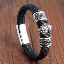 Rope Bracelet Stainless Steel Leather simple leather bracelet man cowhide