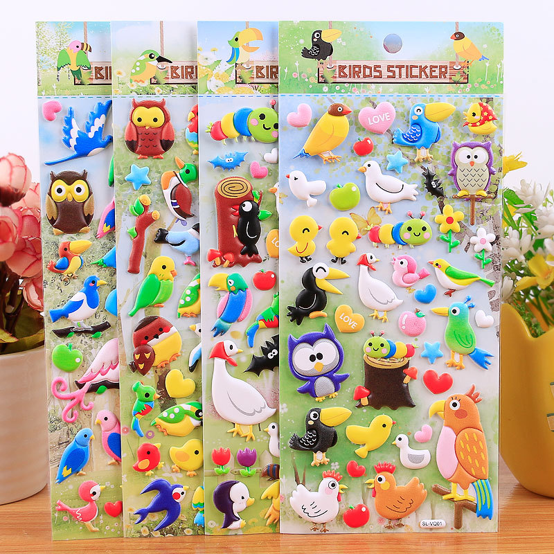 Bird Stickers Toys DIY 3D Cute Cartoon Animals Pegatinas Funny Graffiti For Children On Scrapbook Wall Educational Gifts Sticker