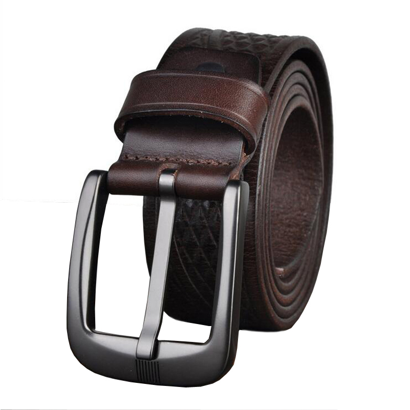 Image 3 - Western Genuine Leather Print Business Pin Buckle Men Belt Vintage Cow Leather Jeans Causal Pants Men BeltMens Belts   -