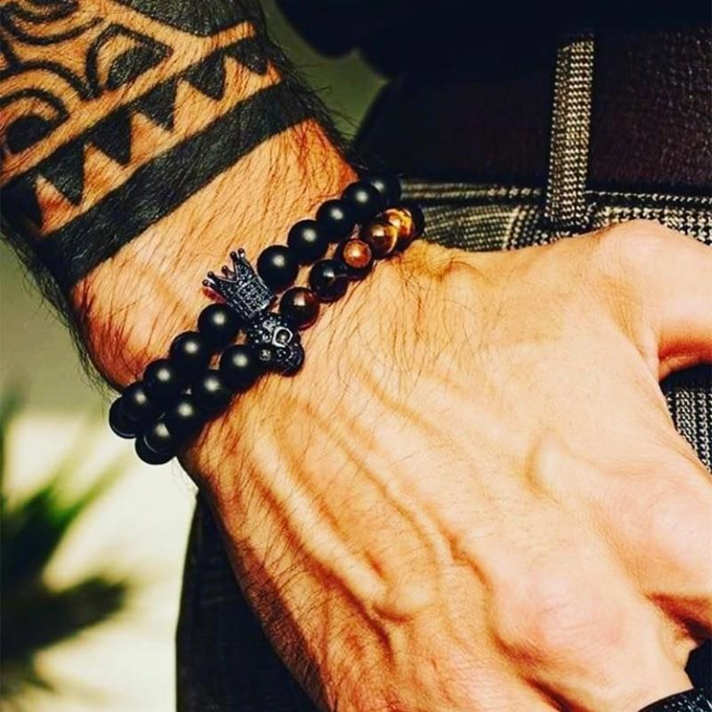 lion bracelet Stone Beads Skull Bracelet Set Crown Men Accessories Erkek Bileklik Jewelry Mens Bracelets For men Pulseras Muje