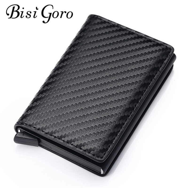 Bisi Goro 2020 Blocking Wallet RFID Credit Card Holder Black Card Holder Aluminum Slim Metal Card ID Holder Dropshipping