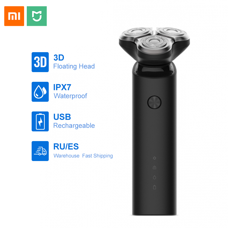 Xiaomi Mijia Electric Shaver Men Razor Beard Trimmer 3 Head Flex Dry Wet Washable Main-Sub Dual Blade Turbo+ Mode Comfy Clean