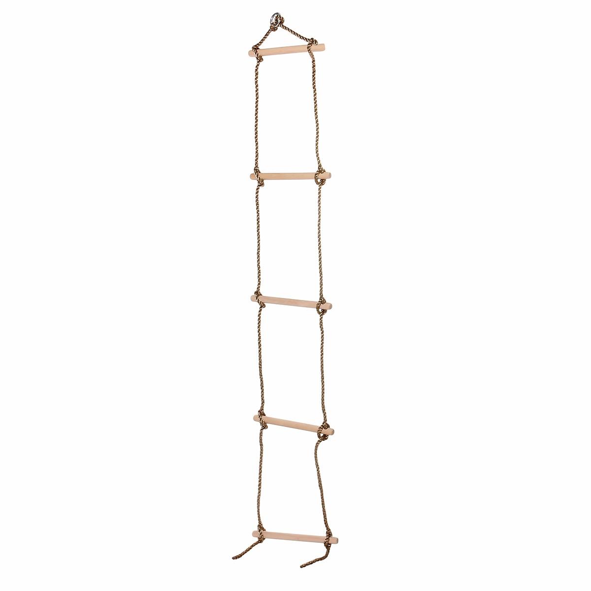 5 Wooden Rungs PE Rope Ladder Children Climbing Toy Kids Sport Rope Swing Safe Fitness Toys Equipment Indoor Outdoor Garden