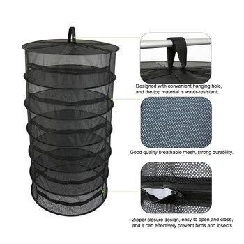 Cesta colgante de 6/8 capas con cremallera, rejilla plegable para secar hierba, bolsa secadora de malla para hierbas, flores, brotes, plantas, estante seco