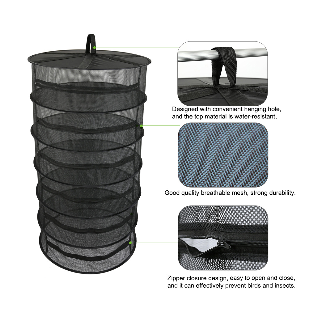 Hanging Basket 6/8 Layers With Zipper Folding Dry Rack Herb Drying Net Dryer Bag Mesh For Herbs Flowers Buds Plants Dry Rack