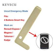 Keyecu 5 × Smart Karte 4 Tasten Auto Schlüssel Klinge für Renault Espace Megane Talisman Kadjar Notfall Einsatz Uncut Rohlinge kleine Klinge
