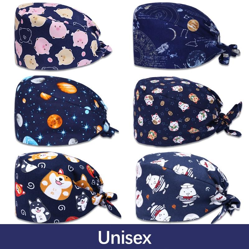 Sales Nurse OR Surgical Caps Medical Scrub Caps Unisex 100% Cotton Tieback Veterinary Hospital Working Hat Back Elastic Chef Hat