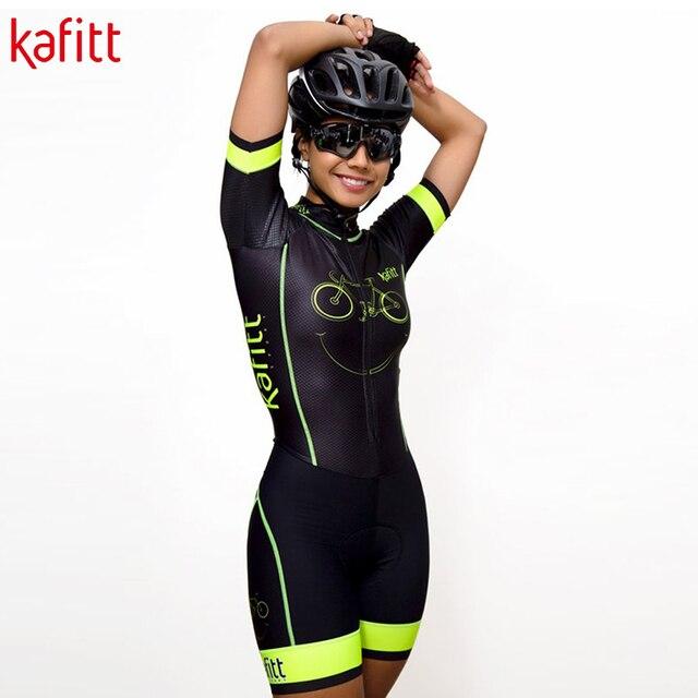 Kafitt pro equipe triathlon conjunto camisa de ciclismo feminino uma peça macacão manga curta macaquinho conjunto feminino gel almofada 5