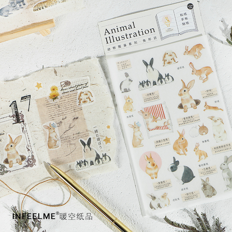 Animal Atlas Series Rabbit Cat Decorative Sticker Diary Album Label Sticker DIY Scrapbooking Stationery Stickers Escolar