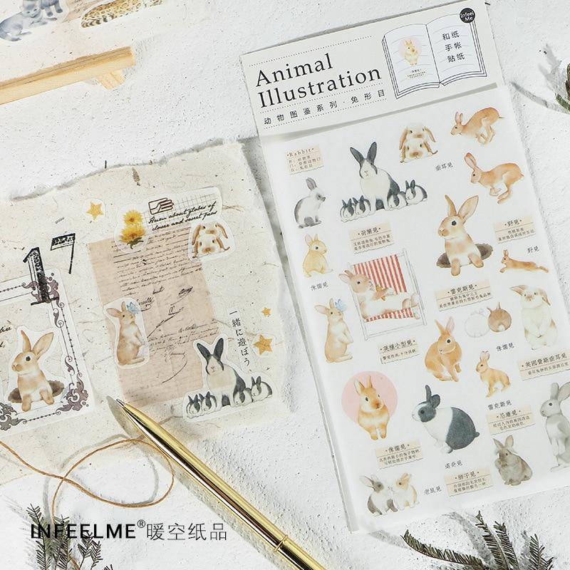 Animal Atlas Series Rabbit Cat Decorative Sticker Diary Album Label Sticker DIY Scrapbooking Stationery Stickers Escolar